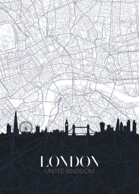 Vinilo Skyline and city map of London, detailed urban plan vector print poster
