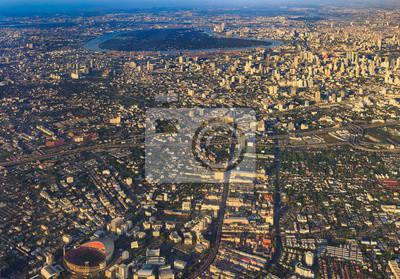Vinilo Skyline de la ciudad, Bangkok, Tailandia Bangkok es la capital de Tailandia y la ciudad más poblada del país. Vista aérea del intercambio de una ciudad, Disparo desde el avión al amanecer o puesta del