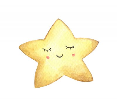Vinilo Smile face in the shape of star. Isolated on white background. Hand drawn watercolor illustration.