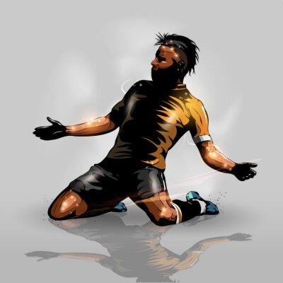 Vinilo soccer player scoring goal