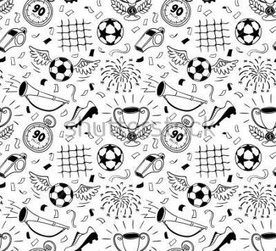 Vinilo Soccer vector background. Vector illustration of seamless football wallpaper pattern for your design