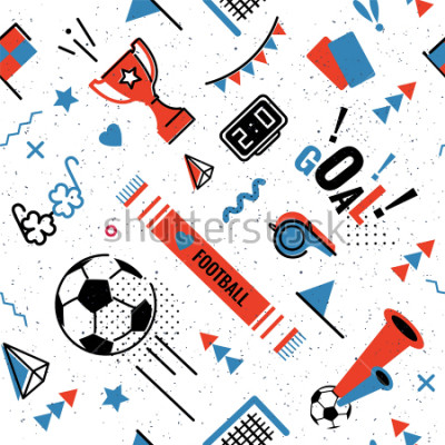 Vinilo Soccer/football abstract background in 80s memphis style. Seamless memphis pattern for posers and cards. Vector illustration