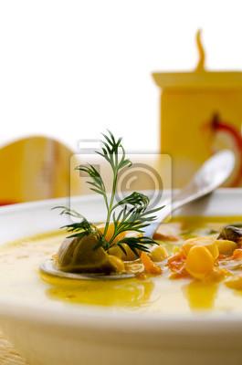 sopa de maíz con las coles de Bruselas y otras verduras
