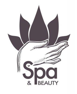 Vinilo Spa y belleza, procedimientos cosméticos, aromaterapia en vector de salón.
