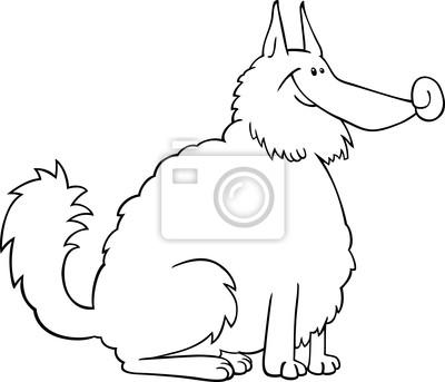 Spitz perro de dibujos animados para colorear libro vinilos para ...