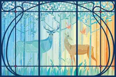 Vinilo Stained glass pair of deer in the spring forest in Art Nouveau frame. Vector graphics