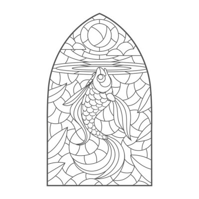 Vinilo stained glass window with goldfish , vector graphic to design