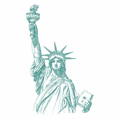 Vinilo Statue of Liberty engraving style illustration. Engraved style drawing. Vector.