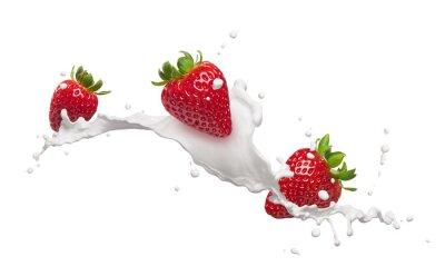 Vinilo strawberries with milk splash