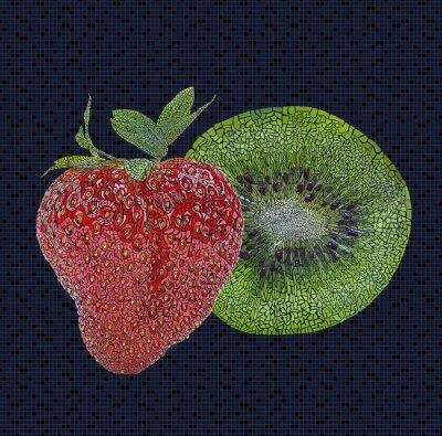 Vinilo Strawberry and kiwi illustration