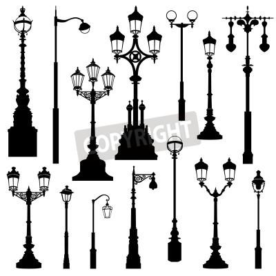 Vinilo Street lamp set. Street lights retro collection.