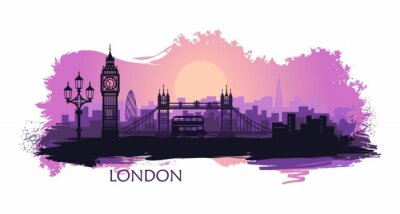 Vinilo Stylized landscape of London with big Ben, tower bridge and other attractions