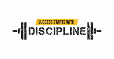 Vinilo Success starts with discipline motivational gym quote with barbell and grunge effect. Sport motivation. Gym vector design template.