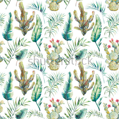 Vinilo Summer palm tree, cactus and banana leaves seamless pattern. Watercolor green branches and flowering succulent on white background. Exotic wallpaper design