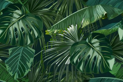 Vinilo Summer seamless pattern with tropical palm leaves. Jungle fashion print. Hawaiian background. Vector illustration