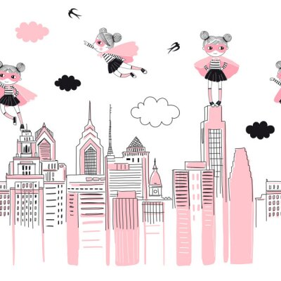 Vinilo Supergirls cartoon characters in the city fly above and stand on buildings. Girlish Superhero themed seamless border pattern. Vector doodle graphics. Perfect for little girl design like t-shirt
