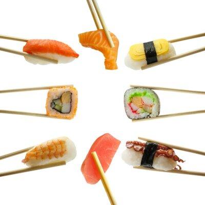 Vinilo Sushi en palillos aislados sobre fondo blanco