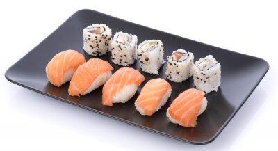 Vinilo Sushi japonés en un plato negro