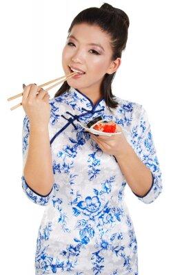 Vinilo Sushi mujer celebración de sushi con palillos