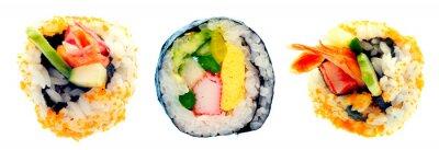 Vinilo Sushi roll con arroz aislado en fondo blanco