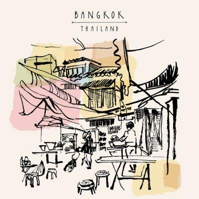 Vinilo Tailandia de Bangkok dibujó a mano la postal