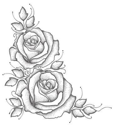 Vinilo Tallo con flores de rosa punteado y hojas aisladas sobre fondo blanco. Elementos florales en estilo de puntowork.