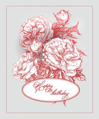 Vinilo Tarjeta de cumpleaños del vintage con la floración subió y mariposas. (Uso para tarjeta de embarque, tarjeta de cumpleaños, invitaciones, tarjeta de agradecimiento.) Ilustración vectorial.