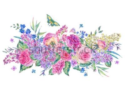Vinilo Tarjeta de felicitación de acuarela vintage decorativa con rosas rosadas y lilas, flores, hojas y brotes, ilustración floral botánica aislada sobre fondo blanco