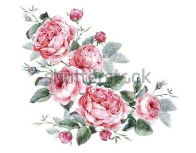 Vinilo Tarjeta de felicitación floral vintage clásica, acuarela ramo de rosas inglesas, hermosa ilustración acuarela