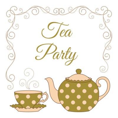 Vinilo Tarjeta de la fiesta del té