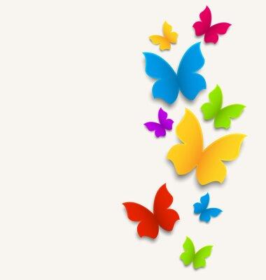 Vinilo Tarjeta de primavera con mariposas, colorido composición