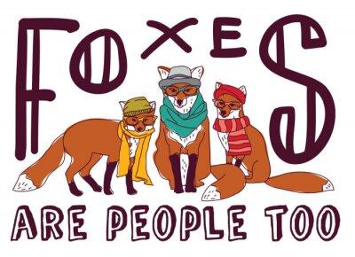 Vinilo Tarjeta del animal del cartel de la muestra de la diversión del zorro del inconformista.