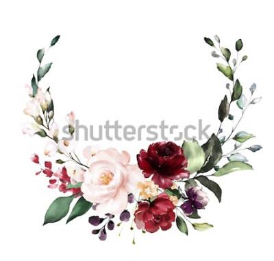 Vinilo Tarjeta. Diseño de invitación acuarela con rosas rojas y borgoña, hojas. Flor, fondo con elementos florales, ilustración acuarela botánica. Plantilla vintage corona, marco redondo