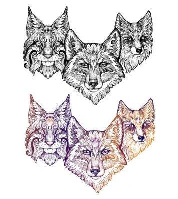 Vinilo Tatuaje. Lobo, lince y zorro