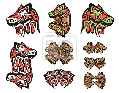 Tatuajes De Cabeza De Lobo Haida Símbolos Dobles Tribales De