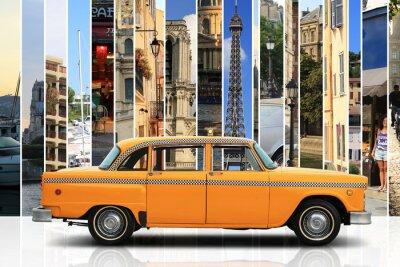 Vinilo Taxi, color naranja coche retro en el fondo blanco