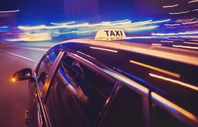 Vinilo Taxi Tomar un giro a la izquierda en la noche