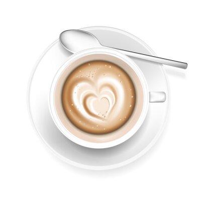 Vinilo Taza de café con forma de corazón en espuma
