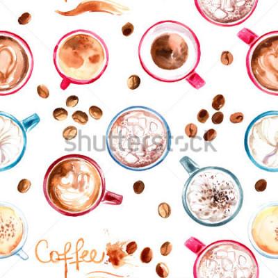 Vinilo Taza de café del modelo pintada con las acuarelas en el fondo blanco. La bebida y los dulces. Manchas de acuarelas abstractas, trazas de cafe.