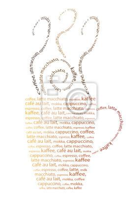 Taza de café hecha de palabras