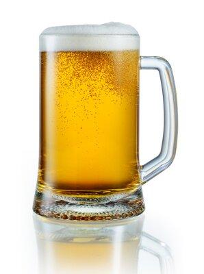 Vinilo Taza de cerveza ligera aislada en el fondo blanco. Con pa recorte