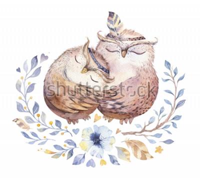 Vinilo te quiero. Ejemplo precioso de la acuarela con los búhos, los corazones y las flores dulces en colores impresionantes. Impresionante tarjeta romántica del día de San Valentín realizada en técnica de a