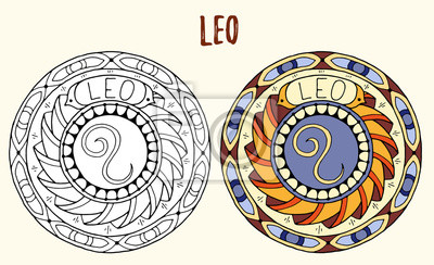 Tema De Los Signos Del Zodiaco Mandalas Blancos Y Negros Y Coloreados Vinilos Para La Pared Escorpión Virgo Piscis Myloview Es