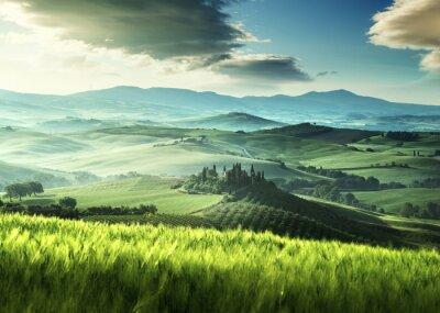 Vinilo Temprano en la mañana de primavera en la Toscana, Italia