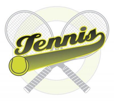 Vinilo Tenis Con La Bandera de la cola es una ilustración de un diseño de tenis con la palabra de tenis con una bandera de la cola para su propio texto, pelota de tenis y raquetas de tenis.