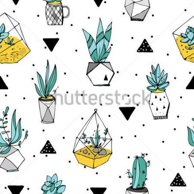Vinilo Terrario de patrones sin fisuras. Textura de las suculentas. Dibujado a mano ilustración minimalista. Diseño escandinavo con elementos florales y geométricos.