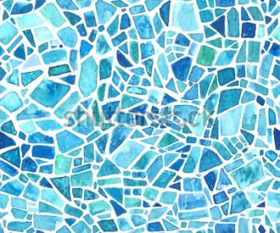 Vinilo Textura de mosaico sin fisuras. Fondo de vector azul caleidoscopio Patrón geométrico acuarela Efecto vitral.