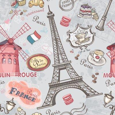 Vinilo Textura transparente con la imagen de los lugares de interés de París