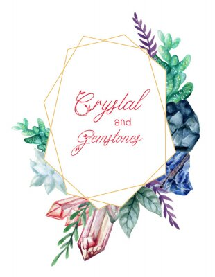 Vinilo The beautiful Crystal and Gemstones of flower foliage leaves wreath frame bouquet Composition watercolor Gouache Hand Painted