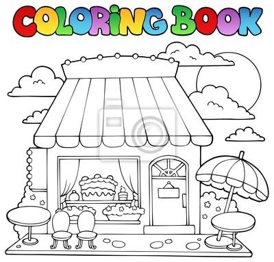 Tienda de dulces de dibujos animados libro para colorear vinilos ...